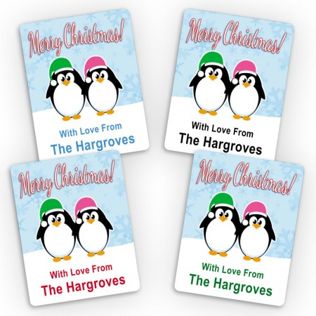 2 Penguins Merry Christmas Small Gift Labels
