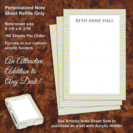 Pastel Stripes Note Sheet Refill