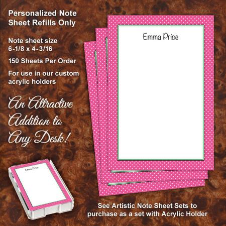 Magenta Polka Dots Note Sheet Refill