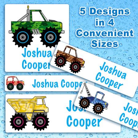 4 x 4 Trucks Waterproof Name Labels For Kids
