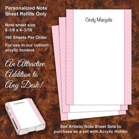 Pink Polka Dots Note Sheet Refill