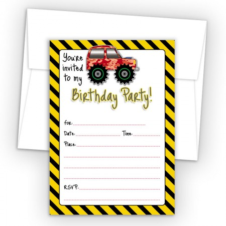 4X4 Truck Fill-In Birthday Party Invitations