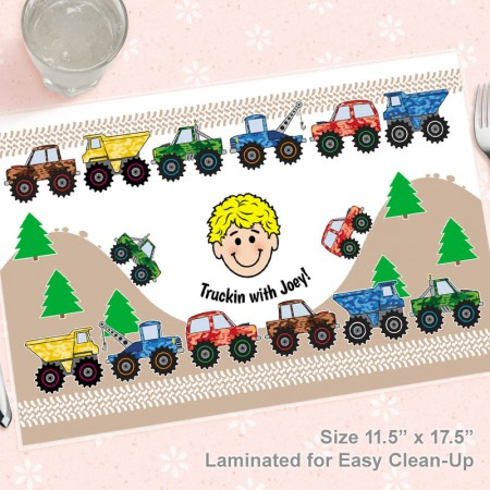 4x4 Trucks Kids Caricature Placemat