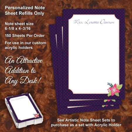Navy Polka Dot Flower Note Sheet Refill