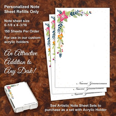 Floral Corners Note Sheet Refill