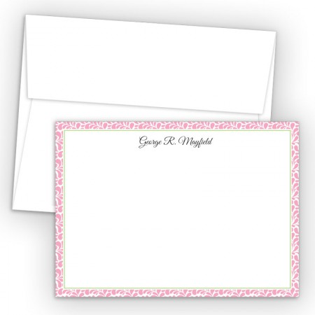 Pink Paisley Correspondence Cards