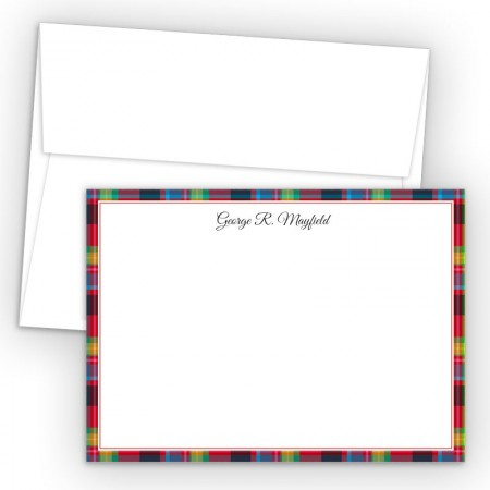 Plaid Red Correspondence Cards