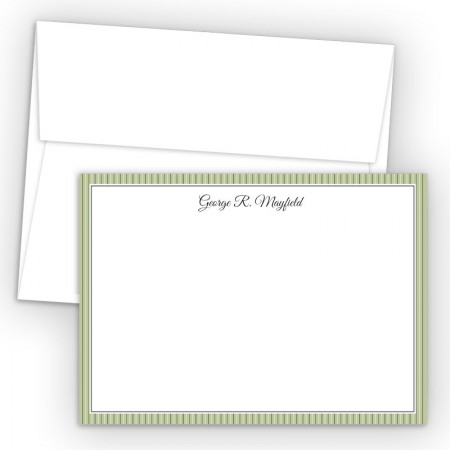 Green Stripes Correspondence Cards