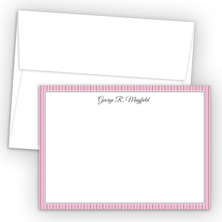 Pink Stripes Correspondence Cards