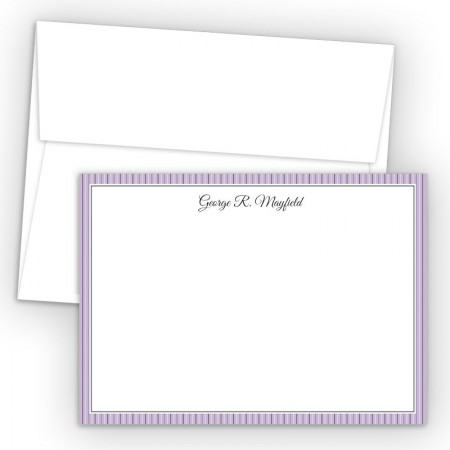 Purple Stripes Correspondence Cards