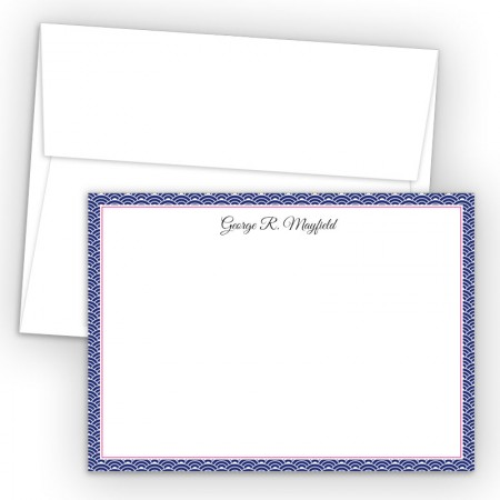 Blue Woodblock Correspondence Cards