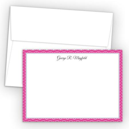Magenta Woodblock Correspondence Cards