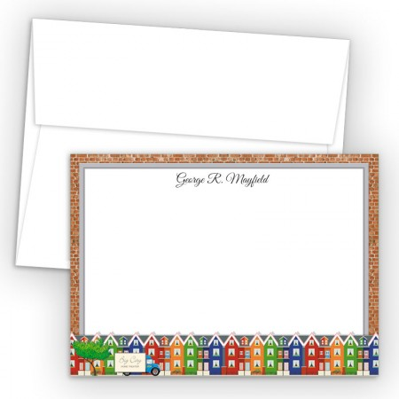 Colorful Houses Correspondence Cards