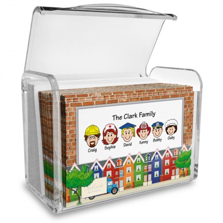 Colorful Houses Family Note Card Set with Acrylic Holder