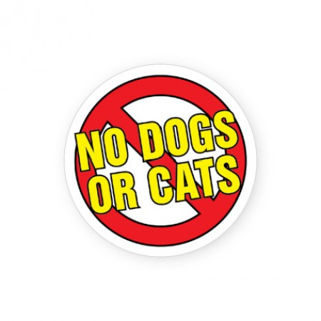 No Dogs or Cats Labels for Allergies