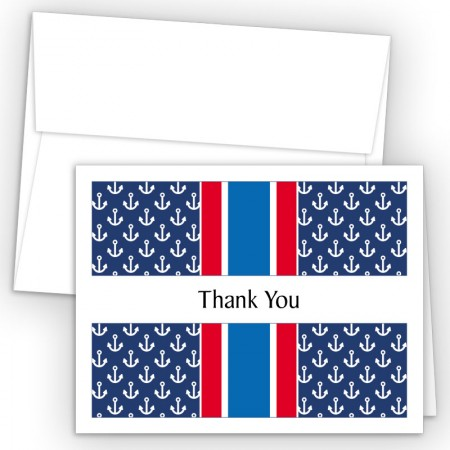 Anchors Blue Thank You Cards