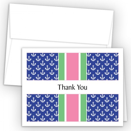 Anchors Pink Thank You Cards