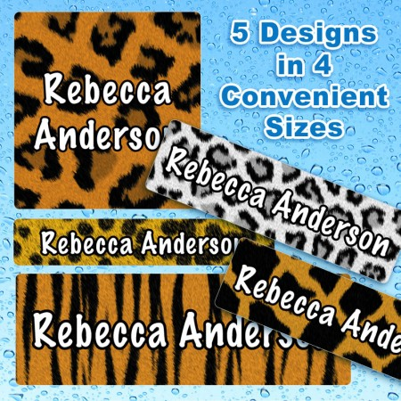 Animal Patterns Waterproof Name Labels For Kids