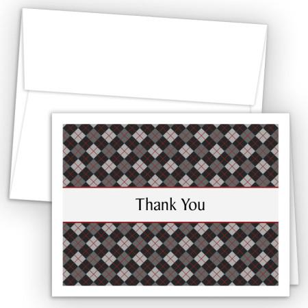 Argyle Black Thank You Cards