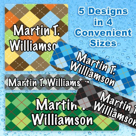 Argyle Waterproof Name Labels For Kids