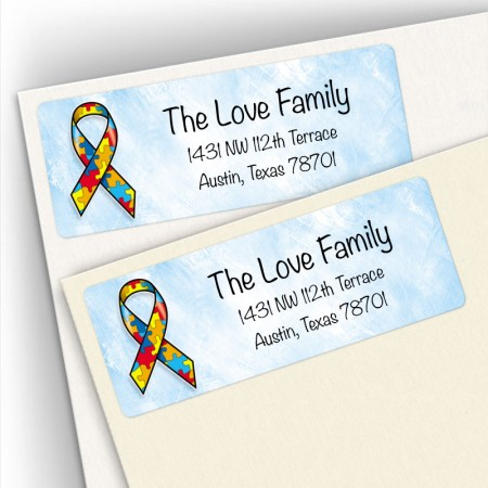 Awareness Ribbon Autism Address Labels