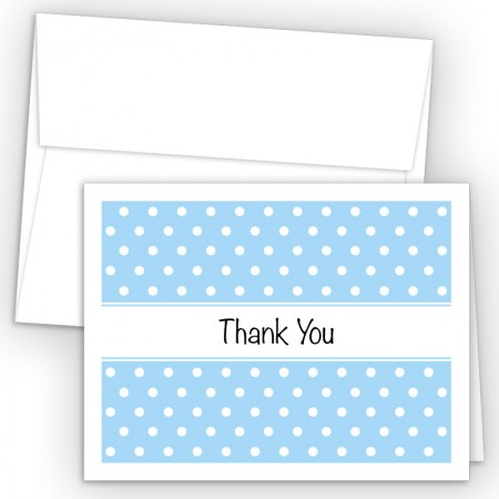 Baby Blue Polka Dots Thank You Cards