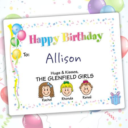 Balloons Happy Birthday Gift Labels
