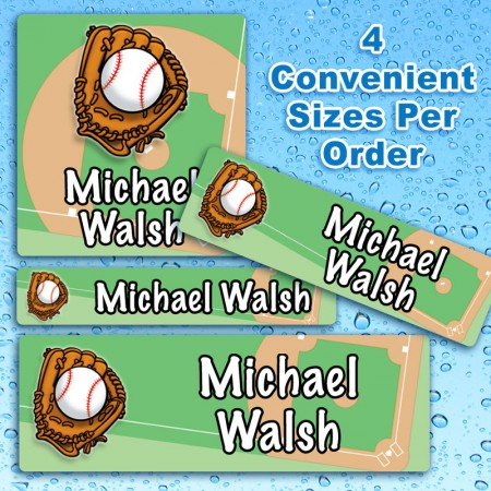 Baseball Waterproof Name Labels For Kids