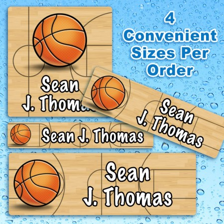 Basketball Waterproof Name Labels For Kids