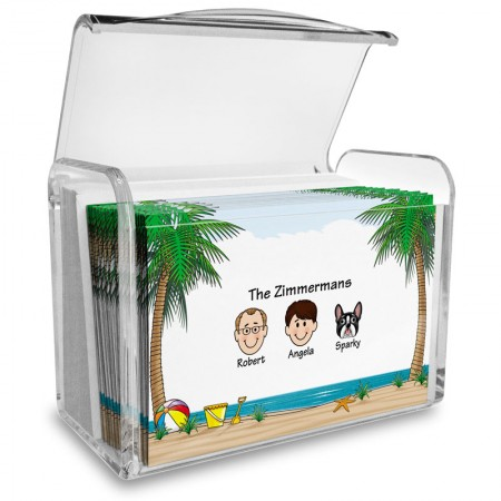 Beach Family Note Card Set with Acrylic Holder