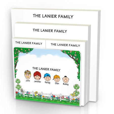 Picket Fence Family Note Pad Set & Acrylic Holder
