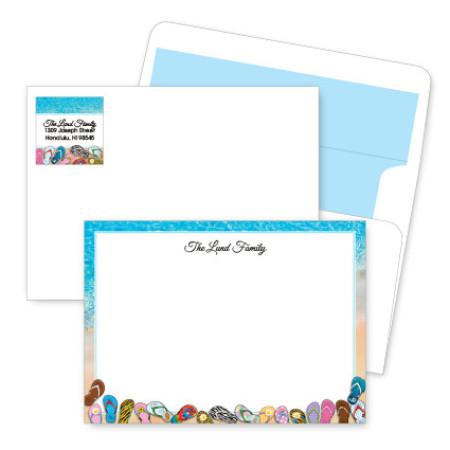 Beach Flip Flops Artistic Correspondence Card Ensembles