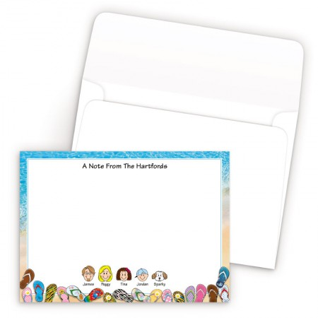 Beach Flip Flops Bordered Family Correspondence Card