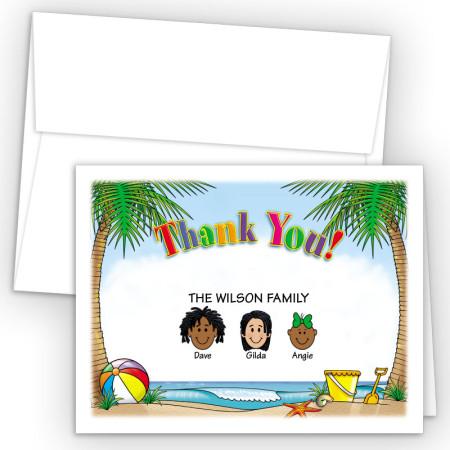 Beach Foldover Family Thank You Card