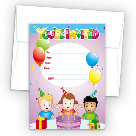 Birthday Cake Fill-In Birthday Party Invitations