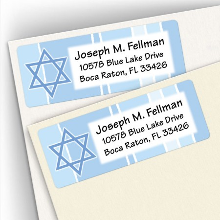 Blue Star of David Address Labels