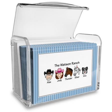 Blue Stripes Family Note Card Set with Acrylic Holder