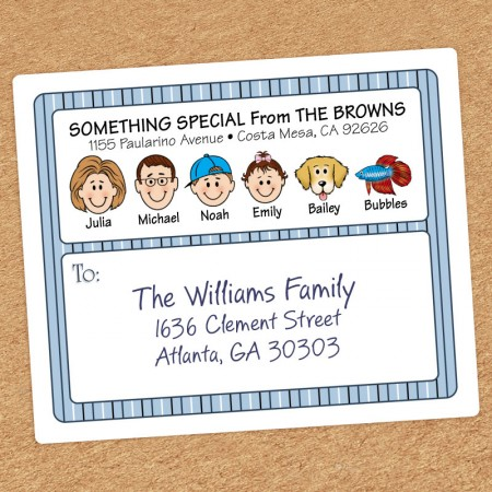 Blue Stripes Family Shipping Labels