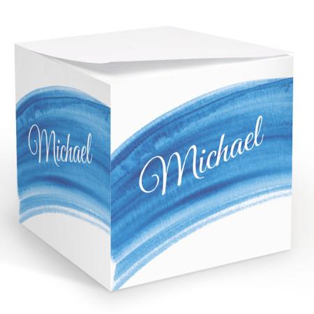 Blue Watercolor Memo Cube