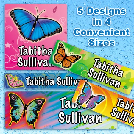 Butterflies 4 Waterproof Name Labels For Kids