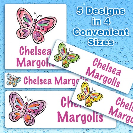 Butterflies 3 Waterproof Name Labels For Kids