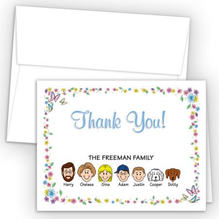 Butterflies Foldover Family Thank You Card