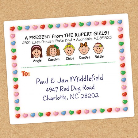 Candy Hearts Family Shipping Label
