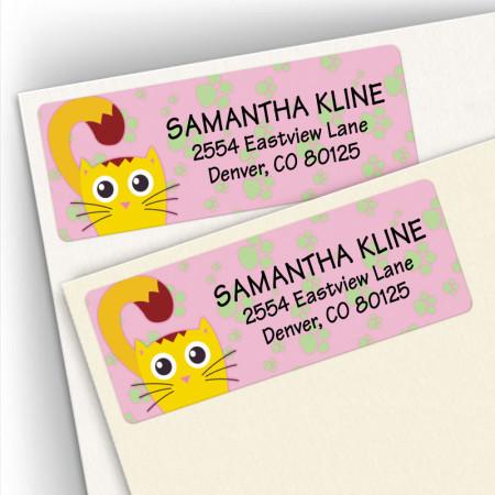 Cat Happy Address Labels