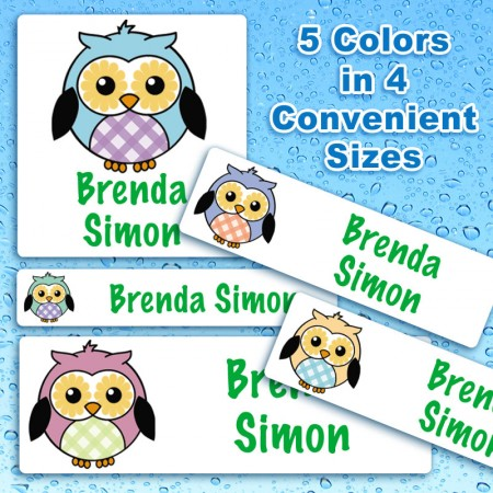 Cheerful Owls Waterproof Name Labels For Kids