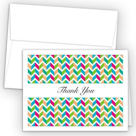 Chevron Green Thank You Cards