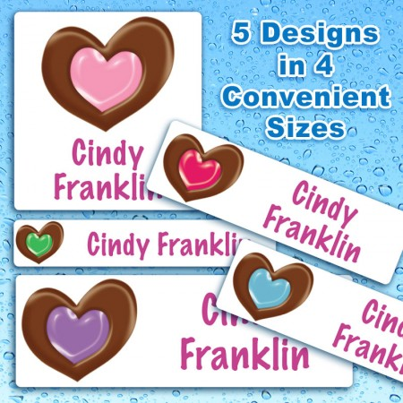 Chocolate Hearts Waterproof Name Labels For Kids
