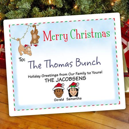 Christmas Monkeys Christmas Gift Label