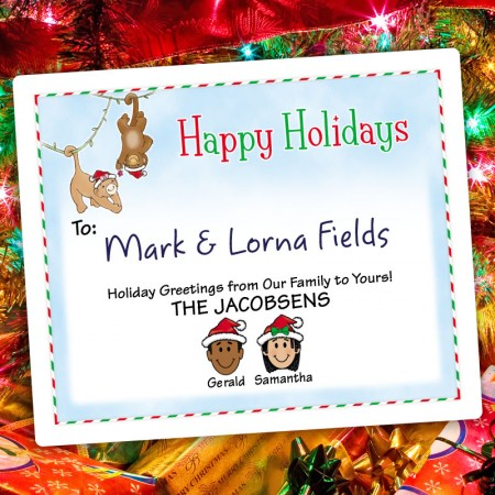Christmas Monkeys Holiday Gift Label