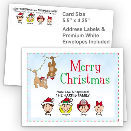 Christmas Monkeys Merry Christmas Fold Note Set